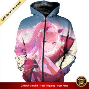 zip hoodie darling in the franxx zip hoodie busty zero two 1 1 - DARLING in the FRANXX Merch