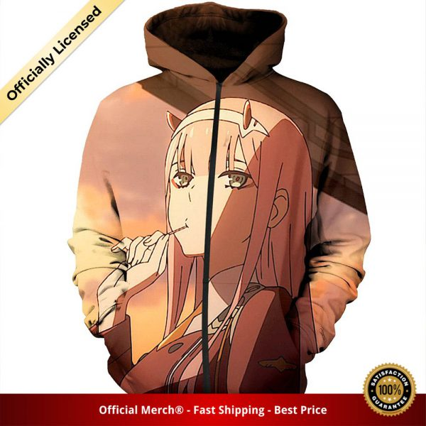 zip hoodie darling in the franxx zip hoodie zero two and sunset 1 - DARLING in the FRANXX Merch