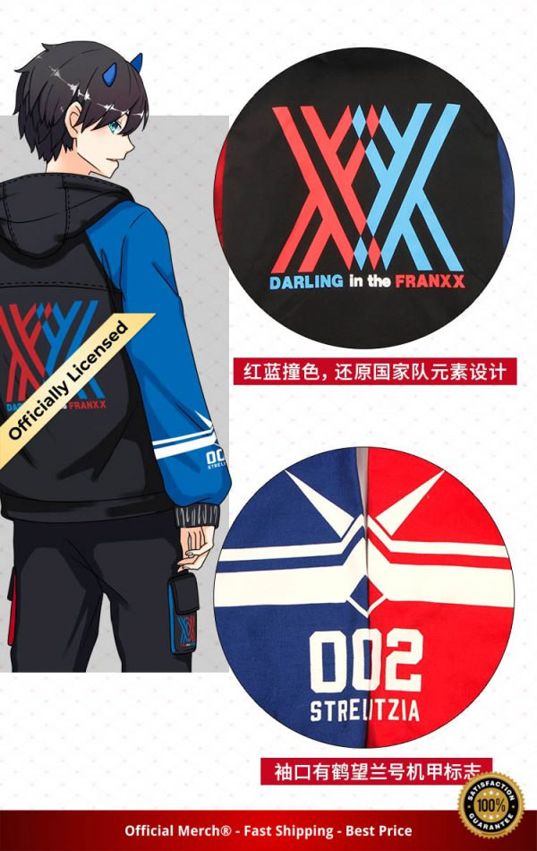 Darling in the Franxx Zero Two 02 Jacket zipper Hoodie Long Sleeve hooded Coat anime tops 5 - DARLING in the FRANXX Merch